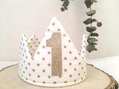 Couronne «j'ai 1 an» blanc et étoile doré – Douceur d'Avril