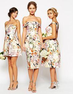 Image 4 ofASOS WEDDING Bardot Floral Off Shoulder Pencil Dress