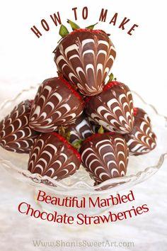 How to make beautiful marbled chocolate dipped strawberries via @shanissweetart