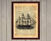 Ship captain crew pirats ocean sea cruise print Rustic decor nautica Cabin Vintage Retro poster Dictionary page Home interior Wall 0011