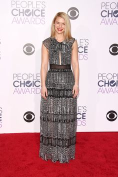 Pin for Later: The Most Glamorous Looks From the People's Choice Awards Claire Danes The Homeland star brought the drama in a tiered silver gown by Burberry.