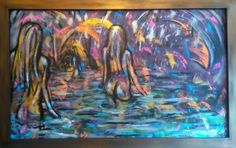 Bathers 64x40.5in framed £800.