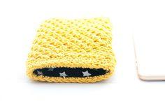 Iphone 6 plus sleeve, crochet Iphone 6 plus case, yellow mobile case, Iphone 6 sleeve, phone wallet, iphone 6 cover, gift idea, tech, gadget