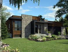 House Plan 50345   Contemporary Plan with 1277 Sq. Ft., 2 Bedrooms, 1 Bathrooms, 2 Car Garage