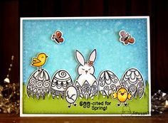 Easter egg card by Larissa Heskett | Beautiful Spring Stamp Set by Newton's Nook Designs