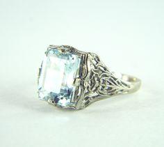 14k White Gold Aquamarine Emerald Cut Vintage Antique Art Deco Filigree Ring | eBay