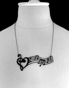 Music Notes & ♥ necklace. #musicstyle #musicfashion http://www.pinterest.com/TheHitman14/hey-ladies-musical-fashion/