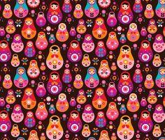 Tissu avec imprimé de matriochkas (poupées russes)    Russian dolls printed frabric    Rrrrrr2012_0601_834_shop_preview