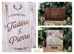 """Papeterie de mariage collection """"Natura"""", pour tous les amoureux de la nature ! Disponible sur la boutique : http://www.alittlemarket.com/faire-part/fr_papeterie_mariage_collection_natura_menu_marque_place_carte_reponse_nature_rustique_bois_texture_original_-9693023.html Design graphique et photographie ©Printyourlove - http://printyourlove.fr"""