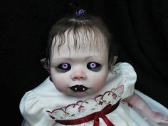 Made from a regular doll and artistic talent. Scary Baby Dolls, Creepy Dolls, Ugly Dolls, Cute Dolls, Halloween Doll, Halloween Projects, Vampires, Zombie Dolls, Haunted Dolls