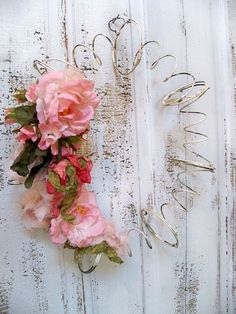 Vintage recycled shabby chic bed spring wreath, farmhouse distressed metal home decor Anita Spero.