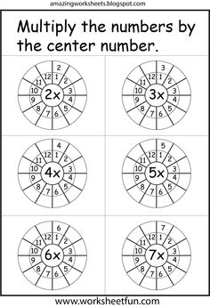 Multiplication Worksheets  I really like this one with the multiplication circle for each number.  It makes a lot of sense visually!  I bet Zach could do this easily!