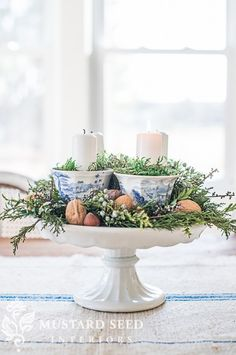 teacup & pedestal advent wreath | miss mustard seed