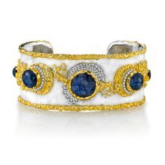 Victor Velyan: 24K Gold, 14W and Silver Bracelet in White Patina  Burmese Star Sapphire and Diamond