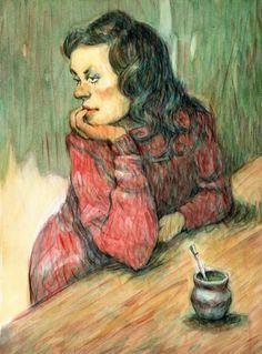 """""""La espera"""", acuarela sobre papel, 27,5 x 37,5"""