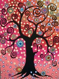 Colorful, swirly, crafty, a tree. Happiness.