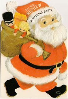 Vintage Greeting Card Christmas UNUSED Walking Moveable Santa Claus Hallmark