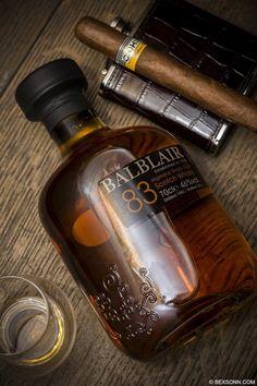 A Cohiba cigar paired with Balblair Highland Single Malt Scotch Whisky, distilled in Edderton, Ross-shire, Scotland since 1790.