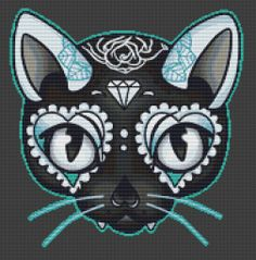 Cat Cross Stitch Kit By Miss Cherry Martini - Day of the Kitty Blue - Tattoo Art Needlecraft with DMC Materials - No Background