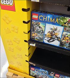 Lego Corrugated Variable Shelf Height Display in Yellow Pallet Display, Point Of Purchase, Pinball, Hooks, Shelf, Lego, Retail, Concept, Yellow