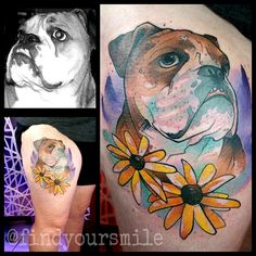 And sometimes I do color portraits based off a black and white image of bitchin English Bulldogs named Bentley. Russell VanSchaick Best tattoo artist ever.