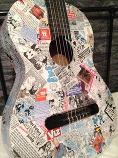 Viz comic decoupage guitar £35.00