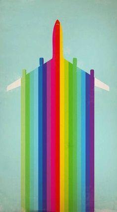 Colorful airplane image via www.Facebook/surfingrainbows