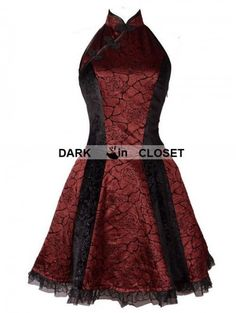 Pentagramme Wine Red Rose Pattern Chinese Cheongsam Style Gothic Dress