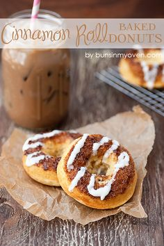 Cinnamon Roll Baked Donuts bunsinmyoven.com ~ need to try the glaze recipe on this one