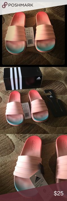 Womens adilette cloud foam fade slide sandals Brand new Womens Adidas cloud foam fade slide sandals (new with tags and box). Color: Easy coral/haze coral. Adidas Shoes Slippers