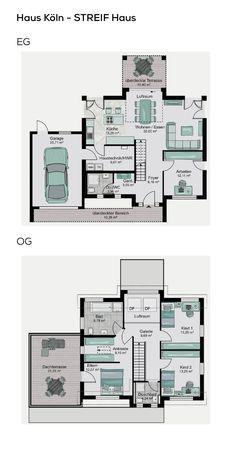 Grundriss Einfamilienhaus Mit Garage, Galerie U0026 Satteldach Architektur   5  Zimmer, Erdgeschoss Modern Offen, Treppe Gerade, Oberu2026