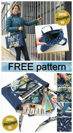 The Compact Messenger Bag has an inset zipper top, a front zippered pocket, standard pockets along t Bag Pattern Free, Bag Patterns To Sew, Sewing Patterns Free, Free Sewing, Wallet Pattern, Pattern Sewing, Diy Messenger Bag, Messenger Bag Patterns, Diy Bags Purses