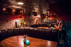 Wednesday, November 2015 After finishing up at Himitsu Lounge in Buckhead, I headed over to Decatur to see the newly opened S., tiki torches light th… Fried Coconut Shrimp, Tiki Lights, Bar Interior Design, How To Make Drinks, Tiki Torches, Hula Girl, Torch Light, Hibiscus Flowers, Restaurant Design