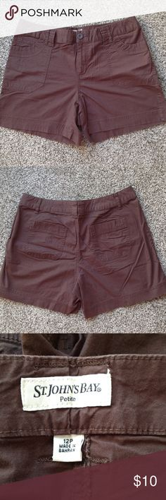 Ladies Petite Shorts 98% cotton, 2% spandex, 14 1/2 inches long, 2 front pockets, 2 pack pockets, zipper fly with button closure, belt loops. St. John's Bay Shorts