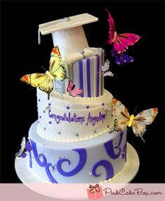 Butterfly Graduation Cake by Pink Cake Box -- this is perfect for my kiddos!
