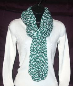 Handmade Green and White infinity scarf. Length - approx. 36  Yarn - 100% Acrylic  Hand wash in cold water. Lay flat to dry.  Chunky scarves are very fashionable. They can be worn with a coat, a sweater or just a tee! They come in so many different colors, styles and can be so much FUN!!  If you are interested a chunky scarf in your team colors message us and let us know what those colors are and we will do our best to make a scarf in your team colors. They are great way to show your team…