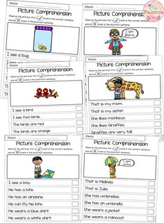 There are 20 cards and 20 worksheets of picture comprehension in this product. These cards and worksheets are great for pre-K and kindergarten students. Children are encouraged to use thinking skills while improving their comprehension and reading skills.  Preschool | Preschool Worksheets | Kindergarten | Kindergarten Worksheets | First Grade | First Grade Worksheets | Picture Comprehension|Picture Comprehension Worksheets | Picture Comprehension Cards | Special Education