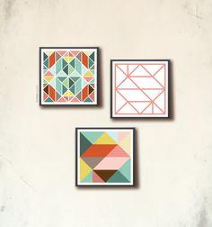 Scandinavian Square Poster Set III. 3 geometric art square prints 20x20cm, affiches scandinaves. Tangram art squares, by TANGRAMartworks