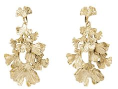 Beautiful cascading gingko gold earrings from Aurelie Bidermann!