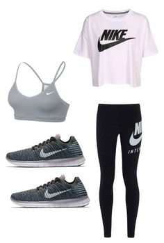 """Lest go work out ‍♀️‍♀️Just Do It"" by maddie73mac on Polyvore featuring NIKE"
