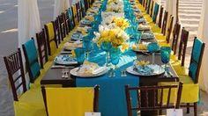 Decoração para casamento paletas azul e amarelo.