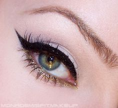 Glad to see gold eyeliner on the bottom for once. Brings a little shine in ones eyes X) Glad to see gold eyeliner on the bottom for once. Brings a little shine in ones eyes X) Gold Eyeliner, How To Apply Eyeliner, Eyeliner Makeup, Glitter Eyeshadow, Bottom Eyeliner, Beauty Make-up, Makeup And Beauty Blog, Hair Beauty, Beauty Products
