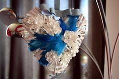Wedding garland wreath  on the front door flowers white blue