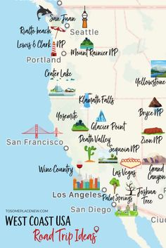 16 Epic West Coast USA Road Trip Ideas & Itineraries - tosomeplacenew 16 Best West Coast USA Road Trip Ideas and Route Itineraries to fuel your wanderlust. 10 day road trip itinerary ideas with activities, tours and Road Trip Usa, West Coast Road Trip, West Road, Road Trip National Parks, Highway 1 Roadtrip, Road Trip Tips, Oregon Coast Roadtrip, Route 66 Road Trip, National Parks Usa