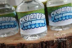 skylanders birthday party ideas water bottle labels