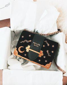 PRADA cahier leather shoulder bag moon & stars www.saksfifthaven - Prada Cahier Bag - Ideas of Prada Cahier Bag - PRADA cahier leather shoulder bag moon & stars www. Prada Handbags, Purses And Handbags, Prada Bag, Prada Backpack, Prada Wallet, Gucci Purses, Handbags Online, Luxury Bags, Luxury Handbags