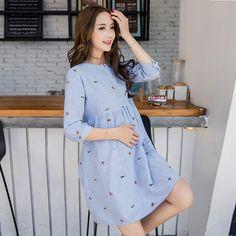 Cute Elegant Maternity Clothes Pregnancy Summer Short Sleeve Cotton Pregnant Dress Blue Nursing Clothes For Pregnant Women M-2XL
