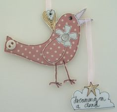 Bird in Pink 'Dreaming on a Cloud' Number 1 £6.00
