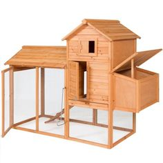 Best Choice Products Outdoor Wooden Chicken Coop Hen House Poultry Cage w/Wire Fence for 4 Birds, Farm - Brown. This chicken coop is designed to not only house chickens but can be used for keeping roosters, rabbits, ducks, or other small animals. Cheap Chicken Coops, Portable Chicken Coop, Best Chicken Coop, Backyard Chicken Coops, Chicken Coop Plans, Building A Chicken Coop, Chickens Backyard, Chicken Tractors, Backyard Poultry