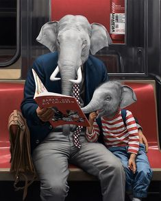 When viewing artist Matthew Grabelsky's work, you'd swear you're looking at a photograph... until you see the elephant in the room—or cheetah or zebra. The Los Angeles-based hyperrealistic painter fuses human portraits of New York City subway riders with the heads of animals, transforming the underground into a surreal jungle of its own. The characters in Grabelsky's paintings act as if there's nothing out of the ordinary about their appearance. They don business attire, brave the rush-hour…